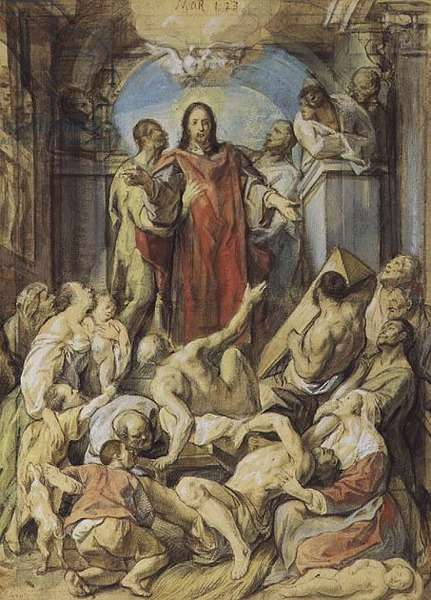 Christ the Miracle Worker, 1660 (black chalk, sanguine, w/c and gouache)