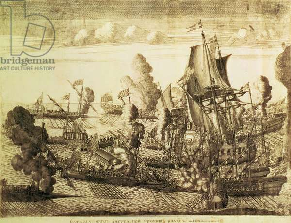 Battle off Cape Gangut (Hanko) on 25th July 1714, 1715 (etching with engraving)