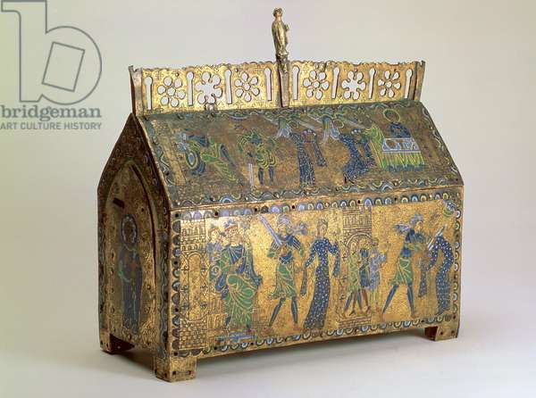 Reliquary casket with Scenes from the Life of St Valeria, Limoges, c.1175 (wood, copper gilt and champleve enamel)