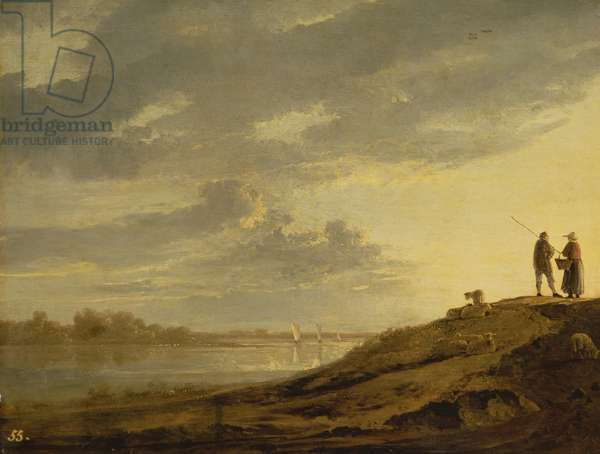 Sunset over a River, 1650s (panel)