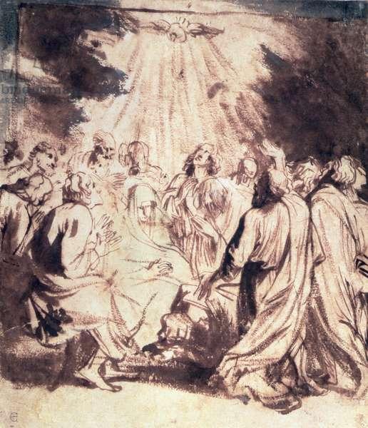 Pentecost, 1620-1 (pen and brush)