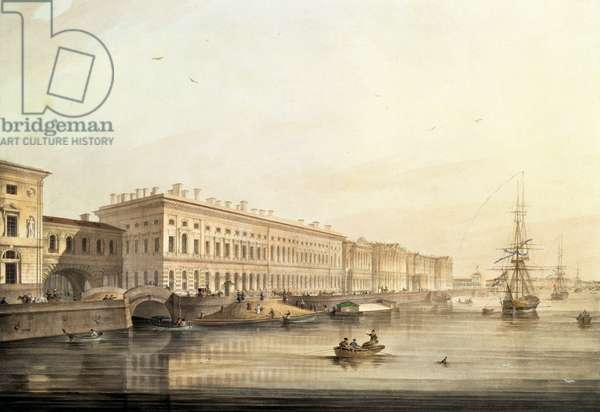 View of Palace Embankment, engraved by Karl Petrovich Beggrov (1799-1875), 1826 (litho with w/c)