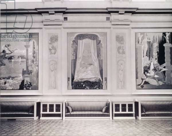 Three panels from 'The Story of Psyche' series by Maurice Denis (1870-1943) in their original location in the Music Room of Ivan Morozov's house, 1912 (b/w photo)