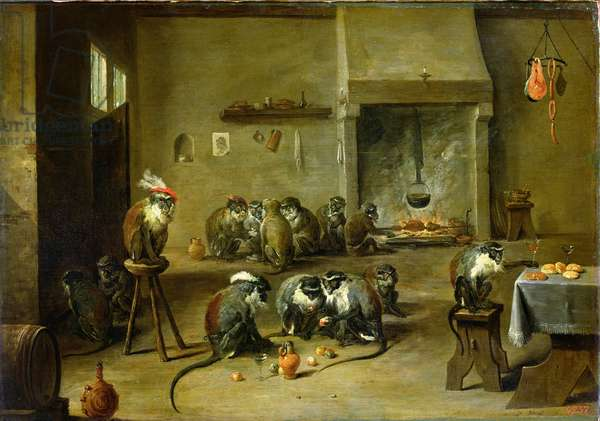 Monkeys in a Kitchen, c.1645 (oil on canvas transferred from panel)