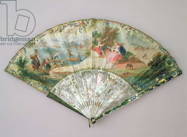 Fan with a courtly scene, painted by Delespine (fl.1730s-40s), Paris, 1744 (gouache on parchment)