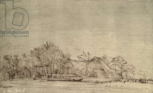 Winter Landscape with Cottages among Trees, c.1650 (reed pen and brown ink)