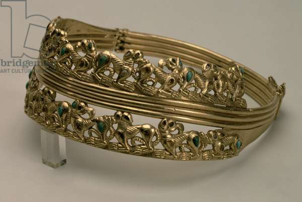 Hinged neck ring in the Animal Style, Sarmatian, 1st century AD (gold, turquoise, coral & topaz)