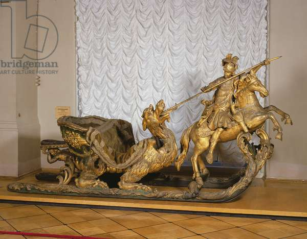 Carnival Sleigh with the figure of St George (wood & gold leaf)