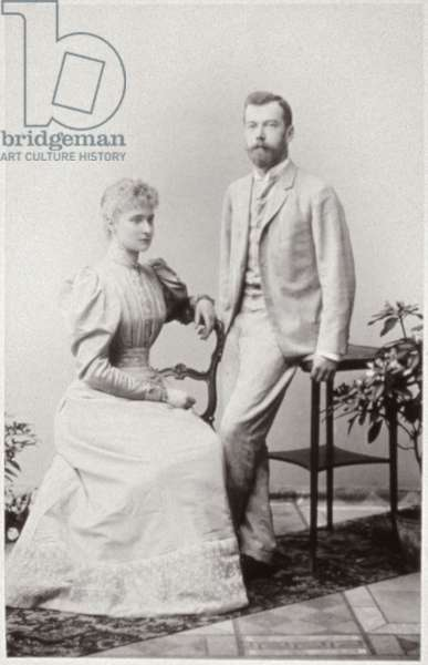 Nicky and Alix after their Betrothal, Coburg, 1894 (b/w photo)