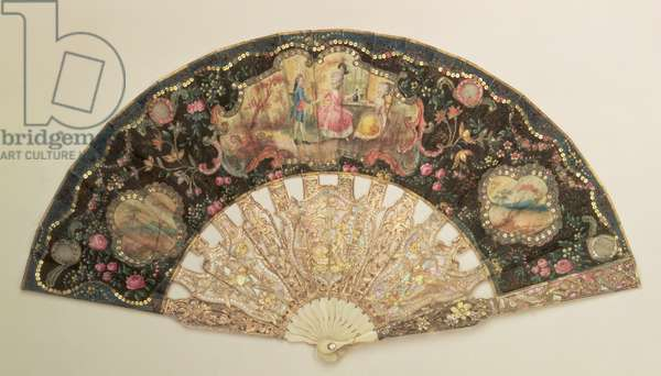 Fan decorated with scenes of courtship, late 18th century (gouache on paper, ivory and mother-of-pearl)