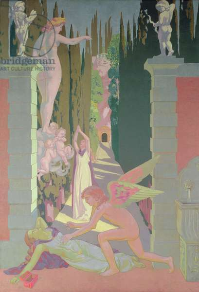 The Vengeance of Venus: Psyche, Opening the Box of Dreams in the Underworld, Sinks into Sleep, 1908 (oil on panel)