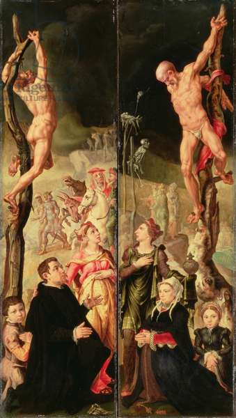Calvary, side panels from triptych (panel)