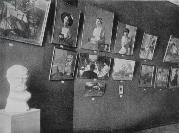 Paintings by Felix Vallotton (1865-1925) at the Golden Fleece exhibition in Moscow, 1908 (b/w photo)