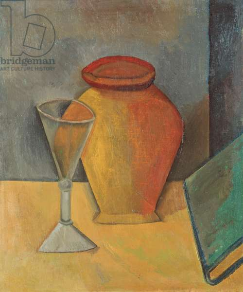 Pot, Wineglass and Book, 1908 (oil on canvas)