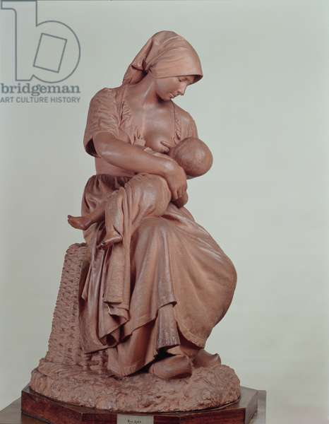 Peasant Woman Nursing an Infant, 1873 (terracotta) (see 183878 for detail)