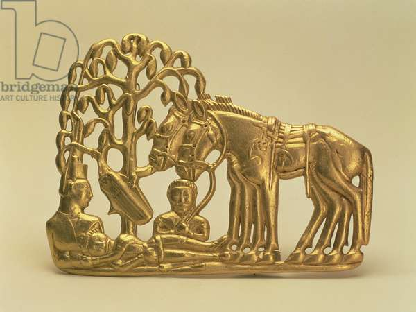Belt buckle depicting figures and horses resting under a tree, from the Siberian Collection of Peter I, 6th-5th century BC (gold)