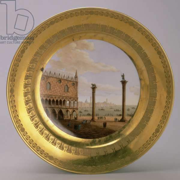 Plate, with a view of the Doge's Palace, Venice, from Eugene de Beauharnais' dessert service by Dihl et Guerhard, Paris, early 19th century (gilded porcelain)