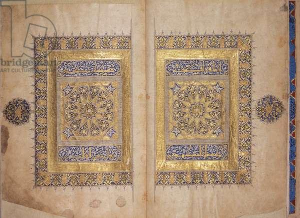 Illuminated pages from a Koran manuscript, Il-Khanid Mameluke School (vellum)
