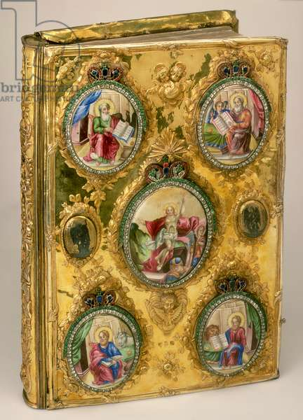 The Gospels, Moscow c.1780, silver, coloured glass, paper, leather, enamel, gilding and niello