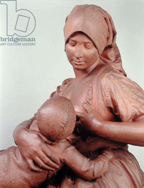 Peasant Woman Nursing an Infant, 1873 (terracotta) (detail of 183878)
