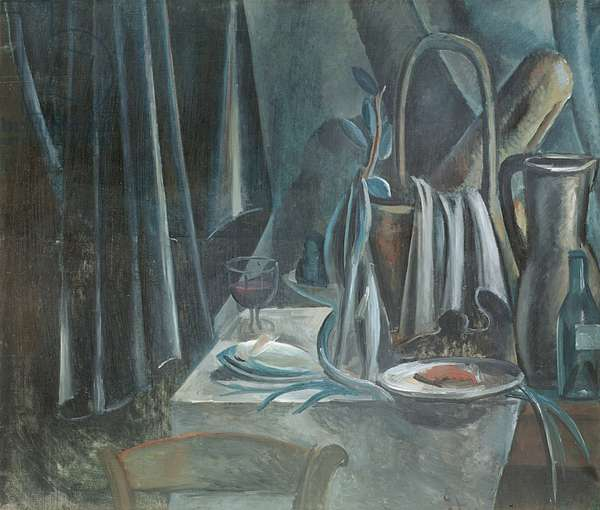 Still Life with Breadbasket, Jug and Wine Glass, 1913 (oil on canvas)