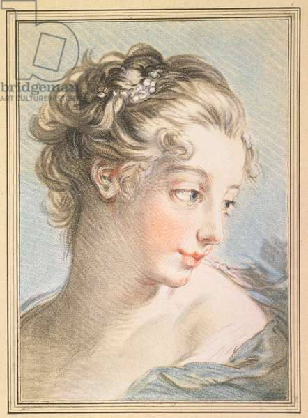 Young Woman, engraved by Louis Marin Bonnet (1743-93), 1767 (colour engraving)