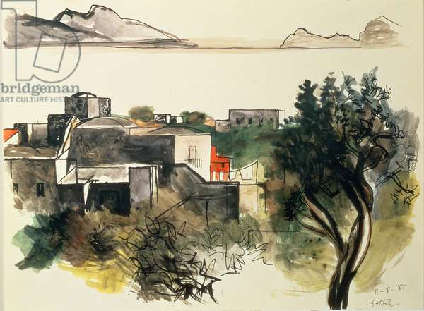 View of the Bay of Naples, 1951 (pen and brush, coloured ink, w/c)