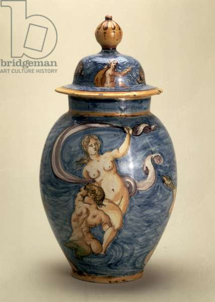 Vase, decorated with sea deities, Nevers, early 17th century (maiolica with polychrome painting)
