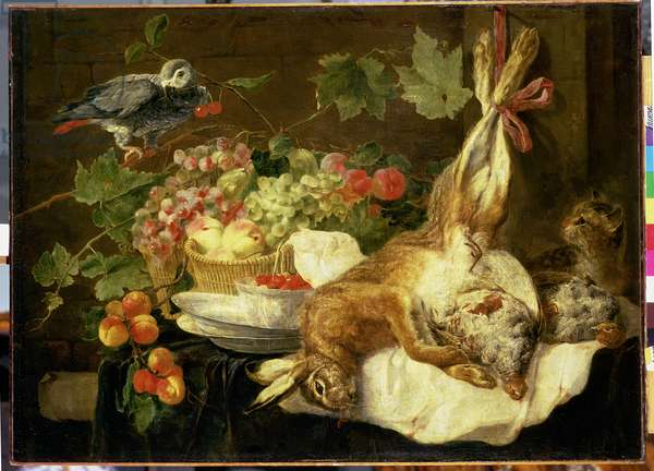 Still Life with Hare, Fruit and Parrot, 1647