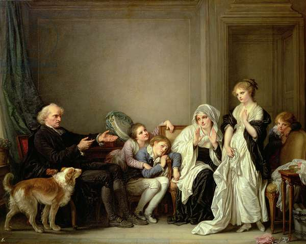 A Visit to the Priest, 18th century (oil on canvas)