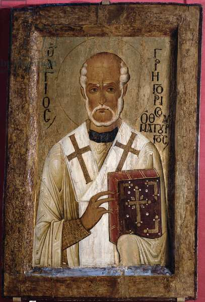 Icon of St. Gregory (tempera on panel)