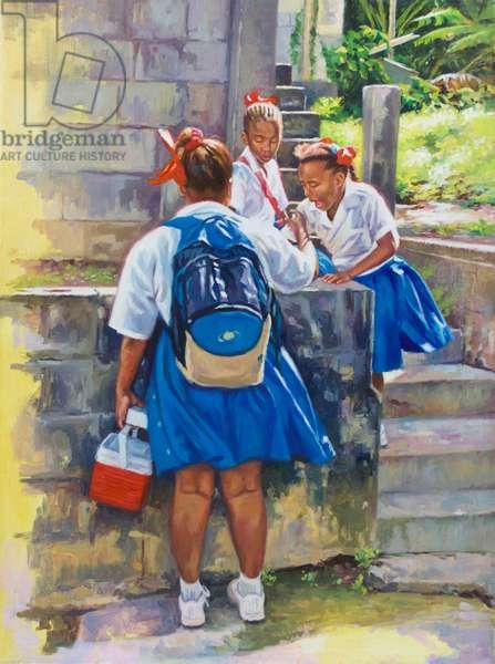 Schoolgirl Banter, 2019, (oil on canvas)