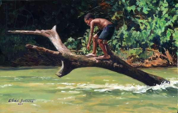 Jump (oil on wood)