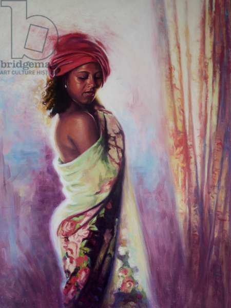 The Red Turban, 2015, (oil on board)