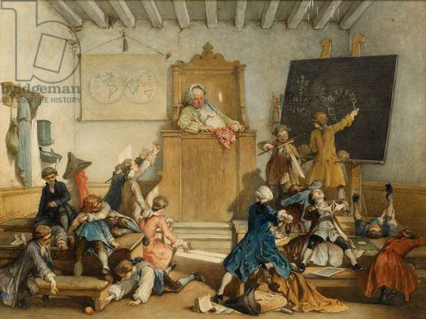 'Education for the Privileged', A School for the Children of Courtiers, Vienna, 1867 (w/c on paper)