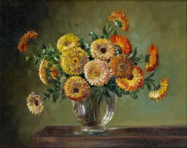 Marigolds (oil on canvas)