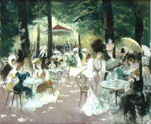 In the Park, Paris, c.1950 (oil on canvas)