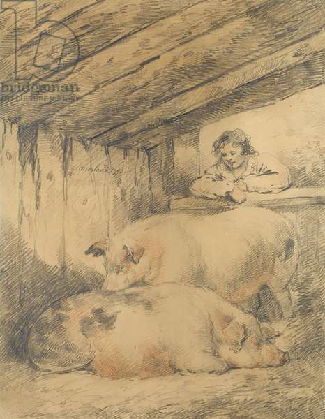 The Pigsty, 1792 (pencil with red & white chalk on paper)