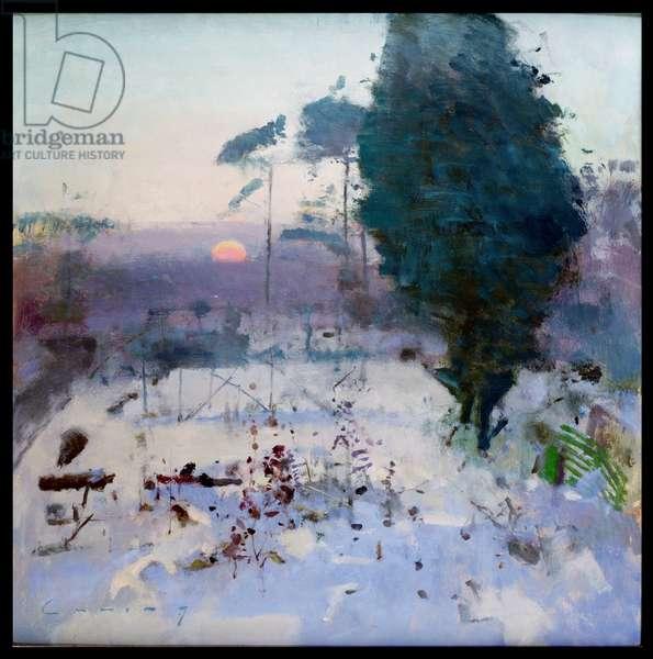 Winter Garden, Sunset (oil on canvas)