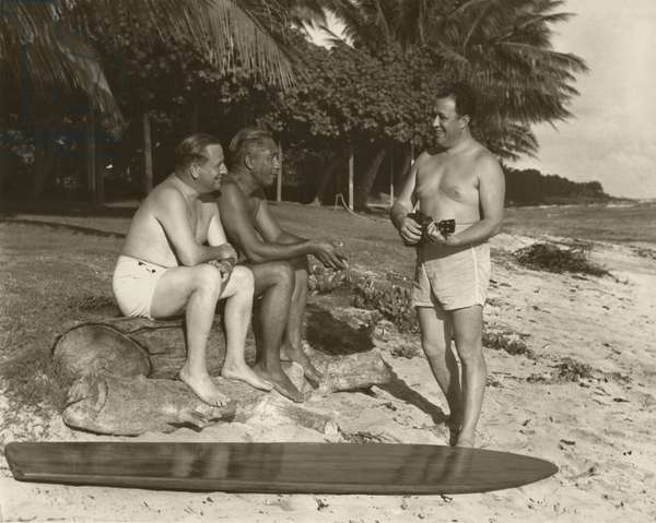Movie publicity still from a surf movie starring Duke Kahanamoku (b/w photo)