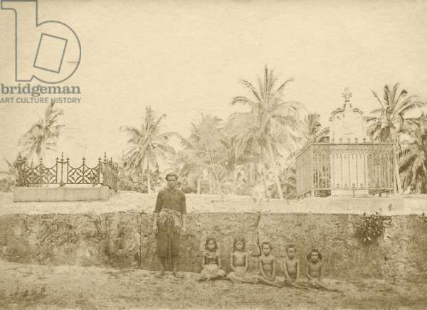 Royal burying place, Uiha, Ha'apai, Tonga (b/w photo)