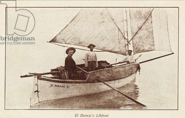 El Dorado's lifeboat, photo circa 1910s, printed as a postcard in the 1920s (b/w photo)