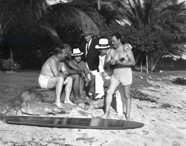 Movie still with Duke Kahanamoku (b/w photo)