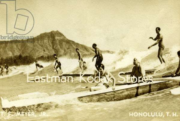 Eastman Kodak business card with a photo of surfers on Waikiki Beach (litho)