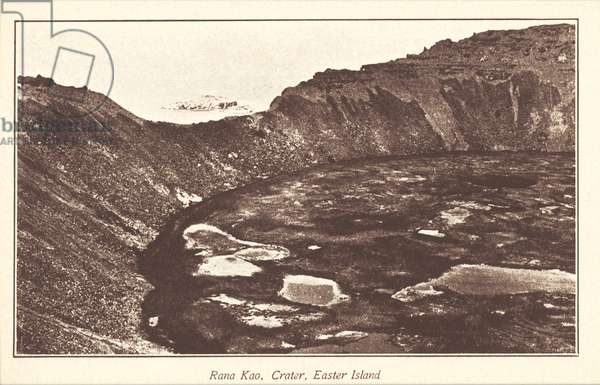 Rana Kao Crater, Easter Island, photo circa 1910s, printed as a postcard in the 1920s (b/w photo)