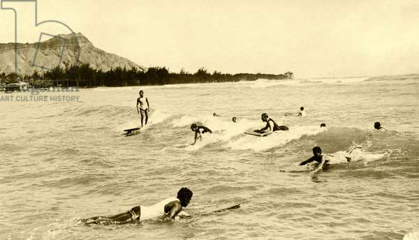 Surfers at Waikiki Beach, c.1930s (b/w photo)