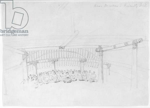 Kava Drinkers - Friendly Islands, Tonga, June 10-July 10 1777 (pencil on paper)