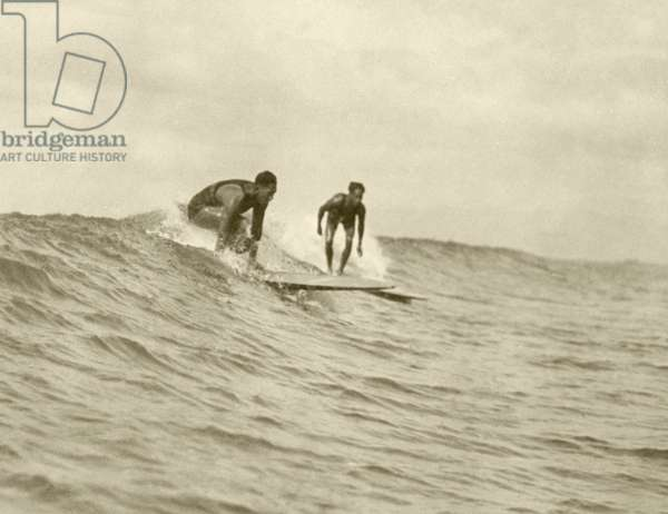 The Kahanamoku brothers surfing Waikiki, c.1930s (b/w photo)