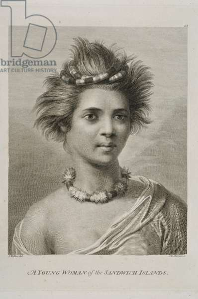 Young Woman of the Sandwich Islands, Hawaii, 1784 (engraving)