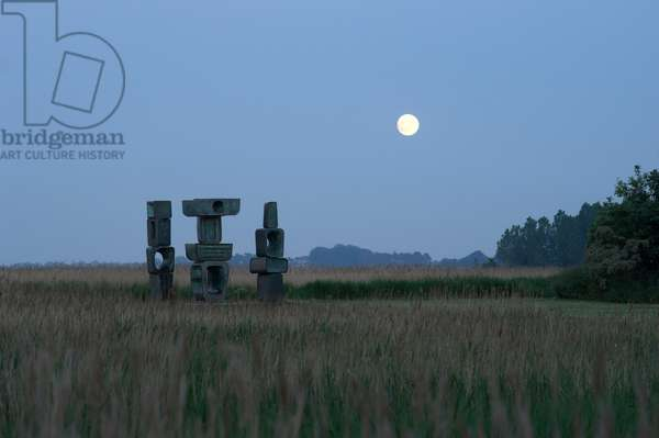 The Family of Man - sculpture by Barbara Hepworth created in 1973, Snape marshes, Snape Maltings